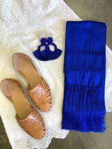 Rebozo de seda azul